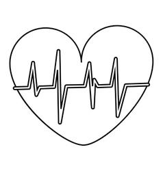Heart with cardiogram icon vector