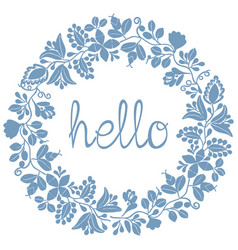 Hello pastel laurel wreath blue frame isolated vector