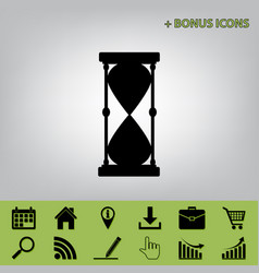Hourglass sign black icon at vector