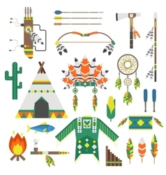 Indians icon temple ornament and indians icons vector