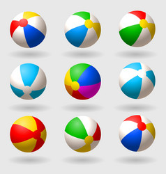 inflatable beach ball set of multi-colored vector image vector image