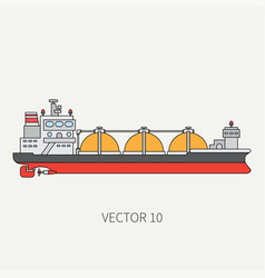 line flat color icon ocean tanker ship vector image vector image