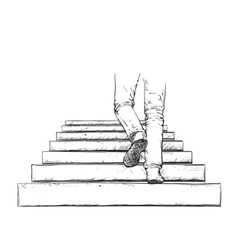 Man climbing the stairs vector