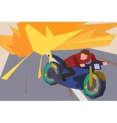 Man escaping an explosion on a motorcycle vector