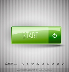 Modern button with icons set vector image vector image