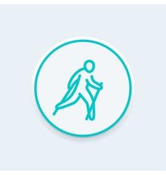 nordic walking line icon healthy lifestyle outdoor vector image