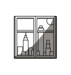 Outlined window city building sun image vector