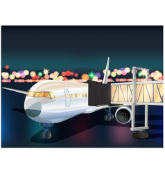 Plane and airport at night vector