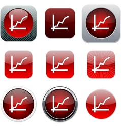 Positive trend red app icons vector