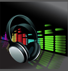 Realistic headphones digital equalizer background vector