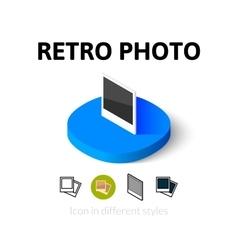 Retro photo icon in different style vector image