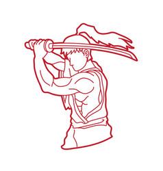 samurai with sword katana vector image vector image