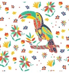 Seamless summer tropical pattern with bird and vector image vector image