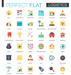 set of flat logistics transportation icons vector image