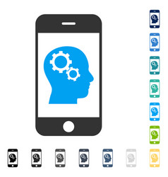 Smartphone intellect gears icon vector