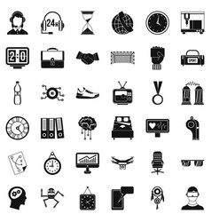 Sport time icons set simple style vector