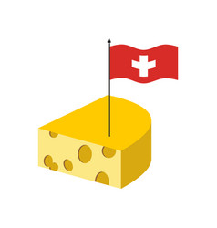 Swiss cheese delicatessen dairy product and flag vector