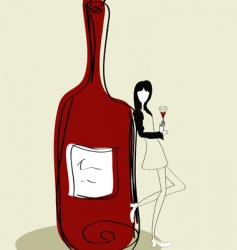 woman with bottle vector image vector image
