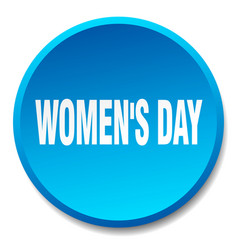 Womens day blue round flat isolated push button vector