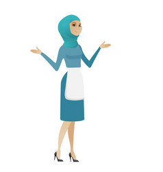 Young muslim confused cleaner with spread arms vector