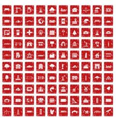 100 landscape element icons set grunge red vector