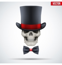 Human skull with cylinder hat and bow tie vector