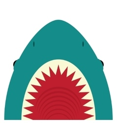 Shark with open mouth and sharp teeth vector