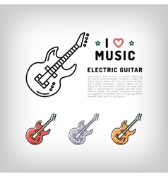 Electric guitar isolated line art icon music vector