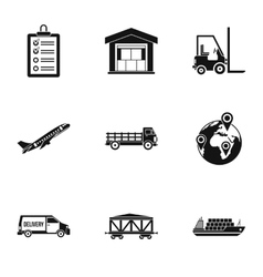 Cargo icons set simple style vector