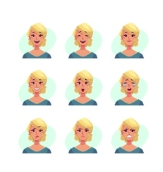 Set of blond woman face expression avatars vector image