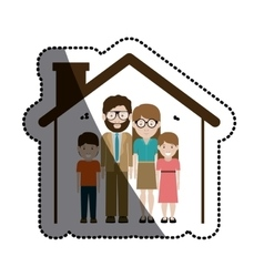 Mother and father with kids design vector