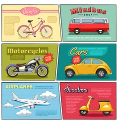 Comic transport mini posters set vector