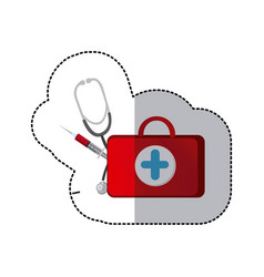 Color suitcase health with stethoscope and syringe vector