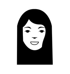Head woman character icon vector