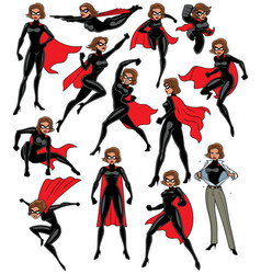 super heroine set vector image
