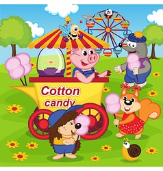 Animals eat cotton candy at amusement park vector