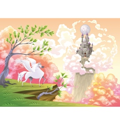 Pegasus and mythological landscape vector