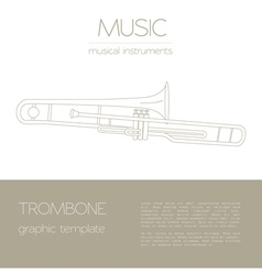 Musical instruments graphic template trombone vector