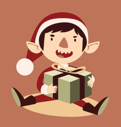 Silly cartoon elf holding a wrapped git box vector