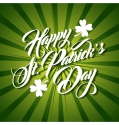 Patrick day lettering green background vector
