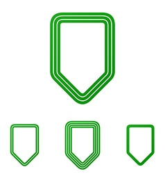 Green line shield logo design set vector