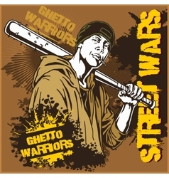 Hooligan with baseball bat ghetto warriors vector