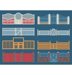 Fences and gates set vector image