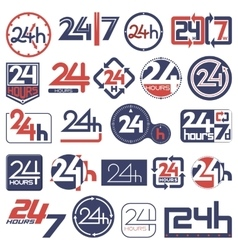 Twenty four hours and seven days in week icons set vector