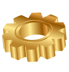 Gold cog wheel 3d vector