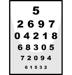 Number chart used for ophthalmologist vector
