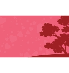 Background of tree and love valentine days vector