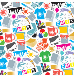 Background pattern with printing icons vector