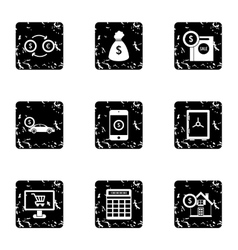 Bank and money icons set grunge style vector