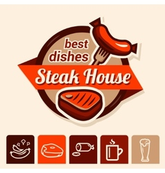 best steak logo vector image